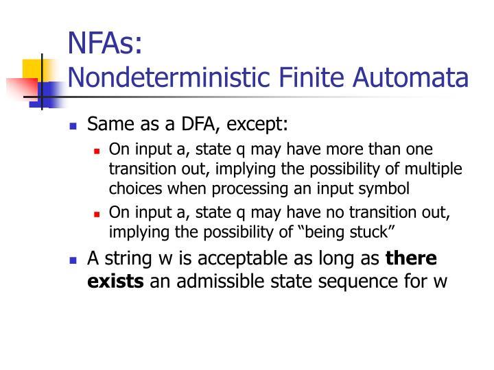 Nfas nondeterministic finite automata