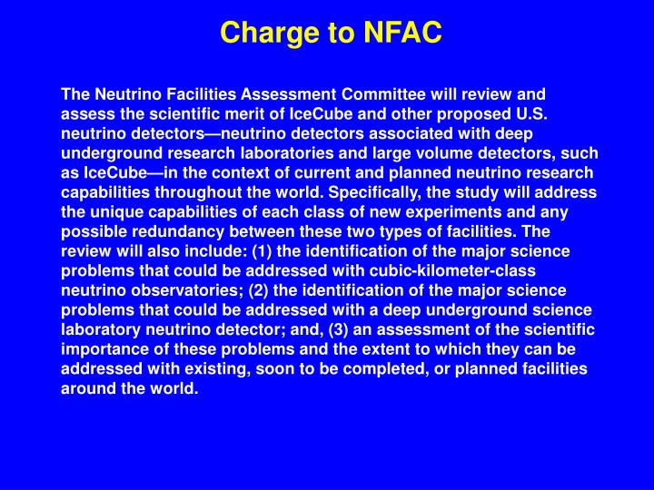 Charge to NFAC