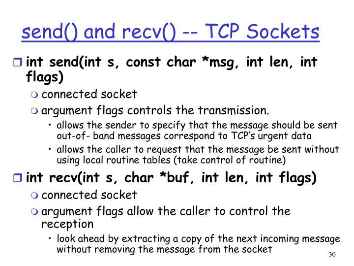 send() and recv() -- TCP Sockets
