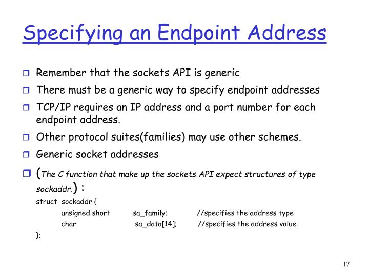 Specifying an Endpoint Address
