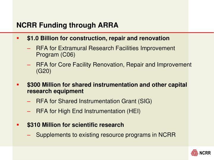 NCRR Funding through ARRA