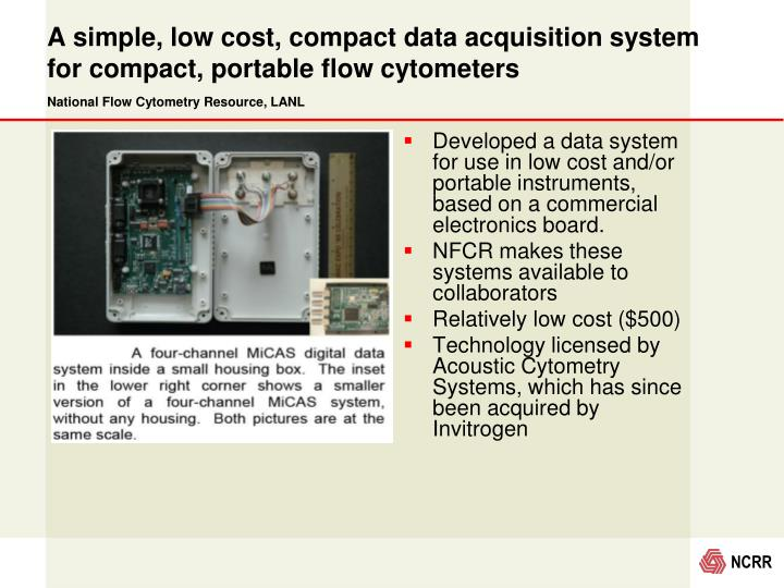 A simple, low cost, compact data acquisition system for compact, portable flow cytometers