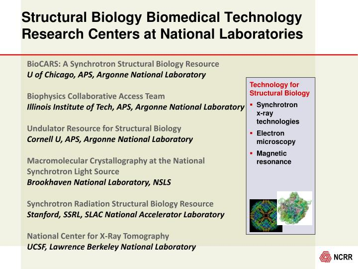 Structural Biology Biomedical Technology Research Centers at National Laboratories