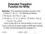 extended transition function for nfas