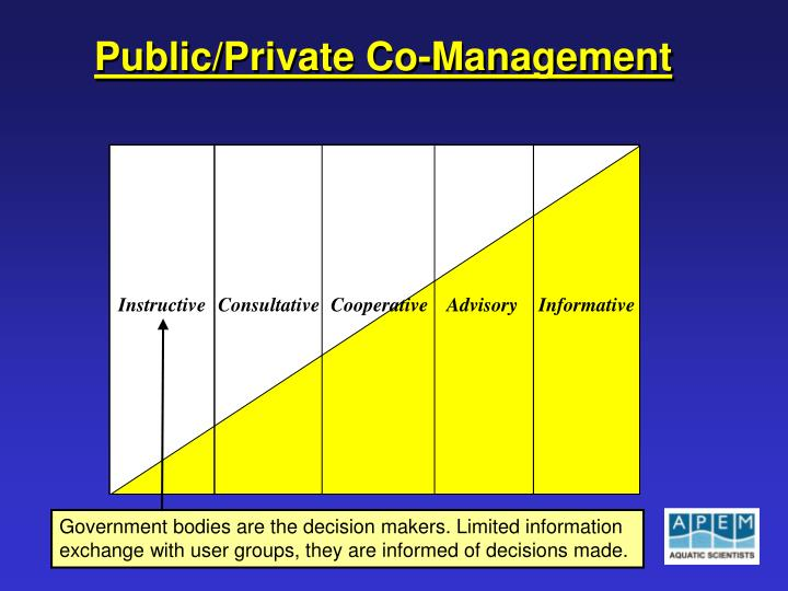 Government bodies are the decision makers. Limited information exchange with user groups, they are informed of decisions made.