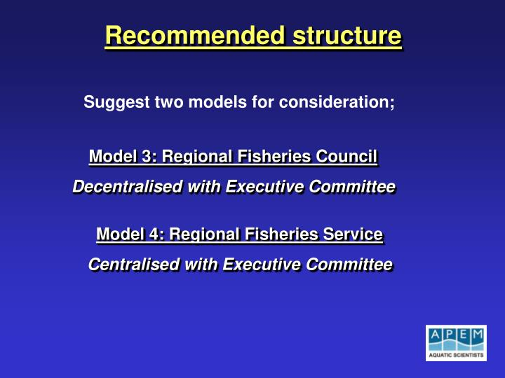 Recommended structure