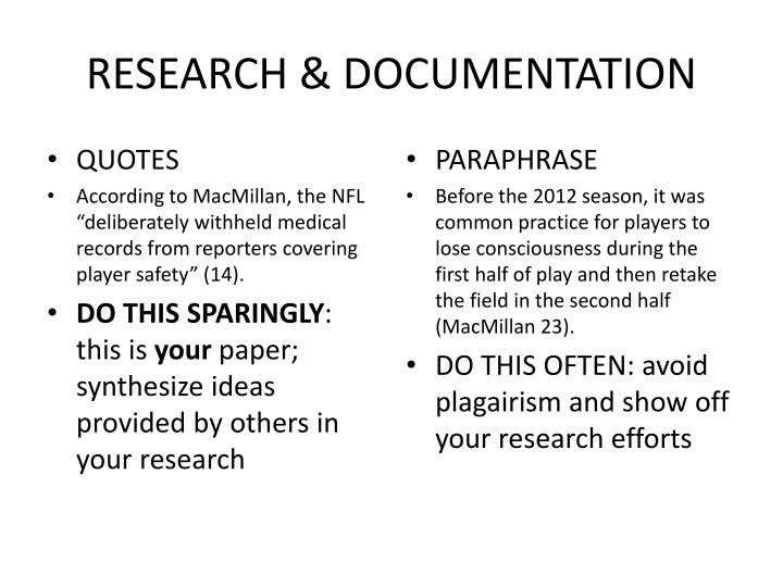research paper documentation When writing a research paper, in text citation is essential to use to accredit other researchers.