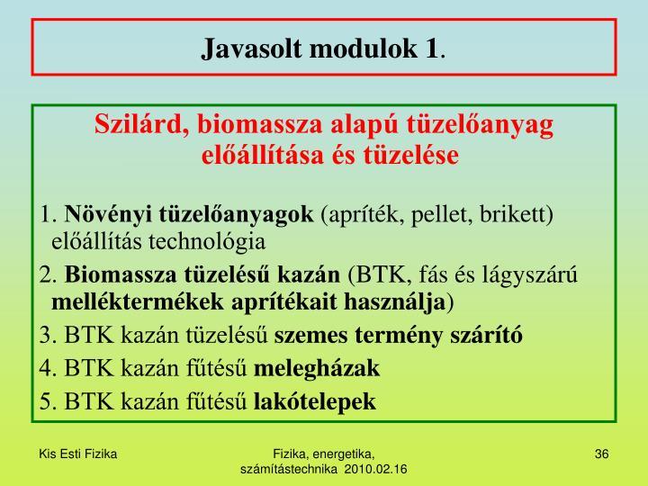 Javasolt modulok