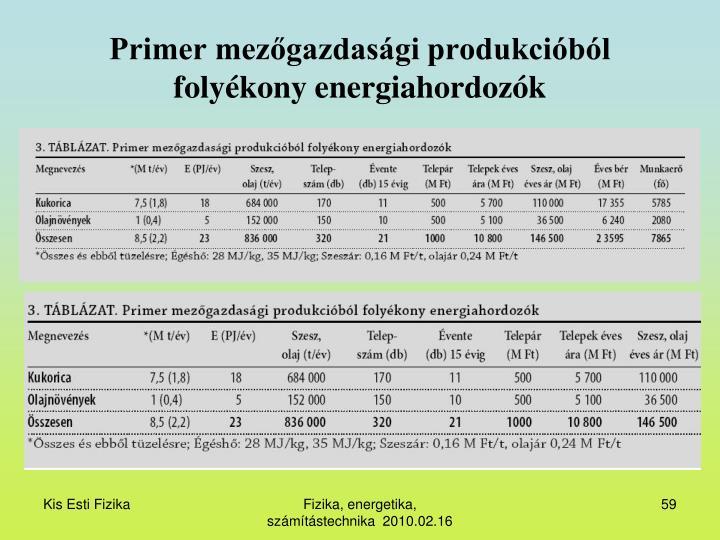 Primer mezőgazdasági produkcióból