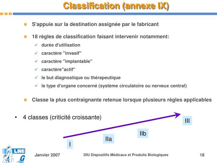 Classification (annexe IX)