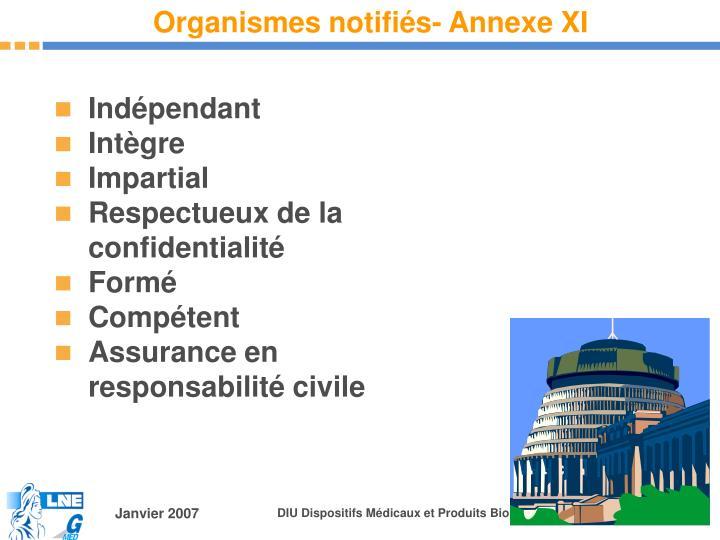 Organismes notifiés- Annexe XI