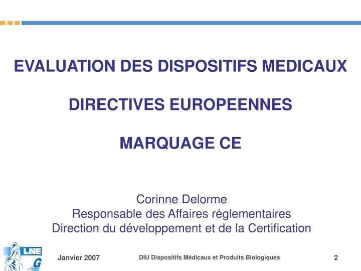 EVALUATION DES DISPOSITIFS MEDICAUX