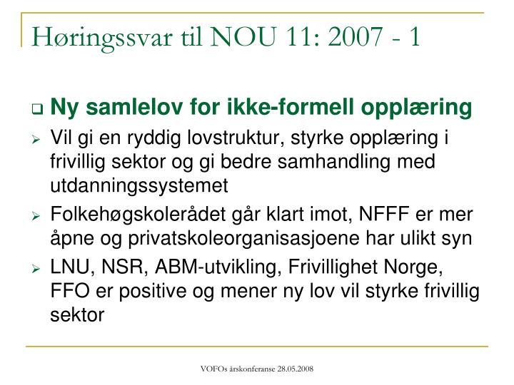Høringssvar til NOU 11: 2007 - 1