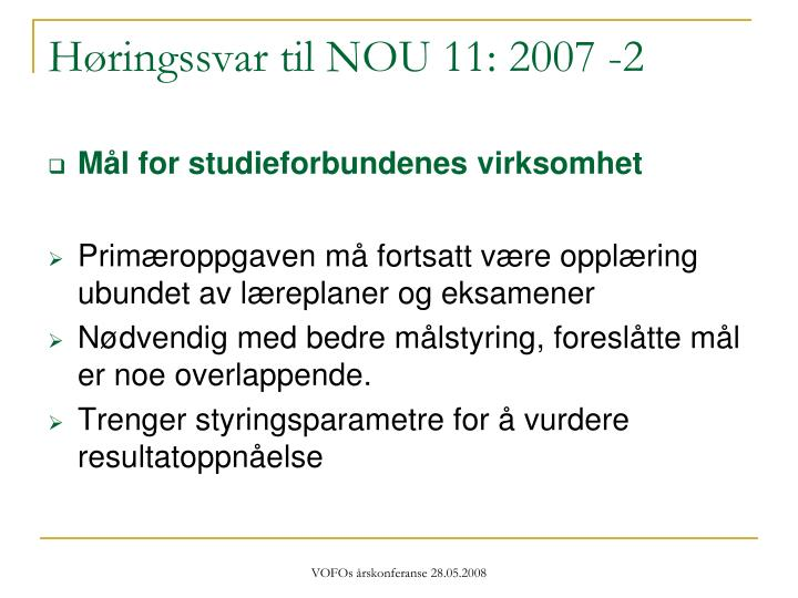 Høringssvar til NOU 11: 2007 -2