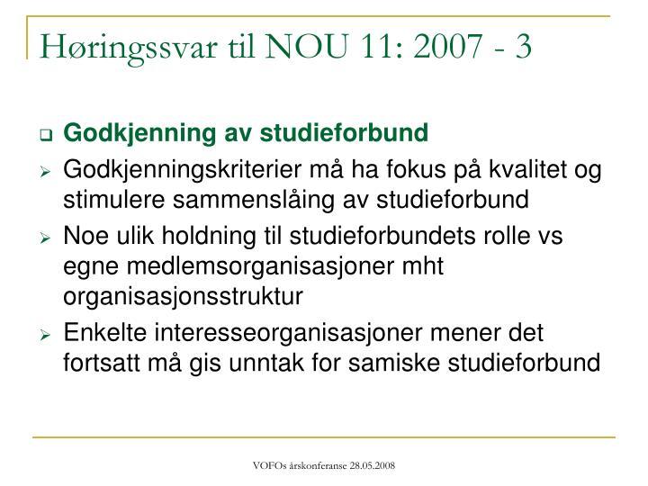 Høringssvar til NOU 11: 2007 - 3