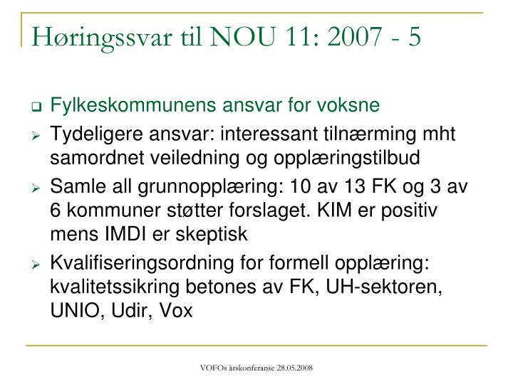 Høringssvar til NOU 11: 2007 - 5