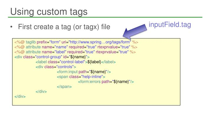 Using custom tags