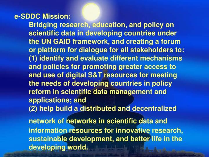 e-SDDC Mission: