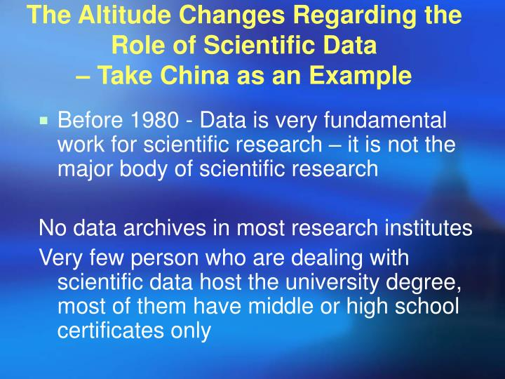 The altitude changes regarding the role of scientific data take china as an example