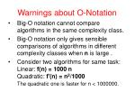 warnings about o notation