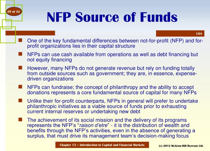 Nfp source of funds