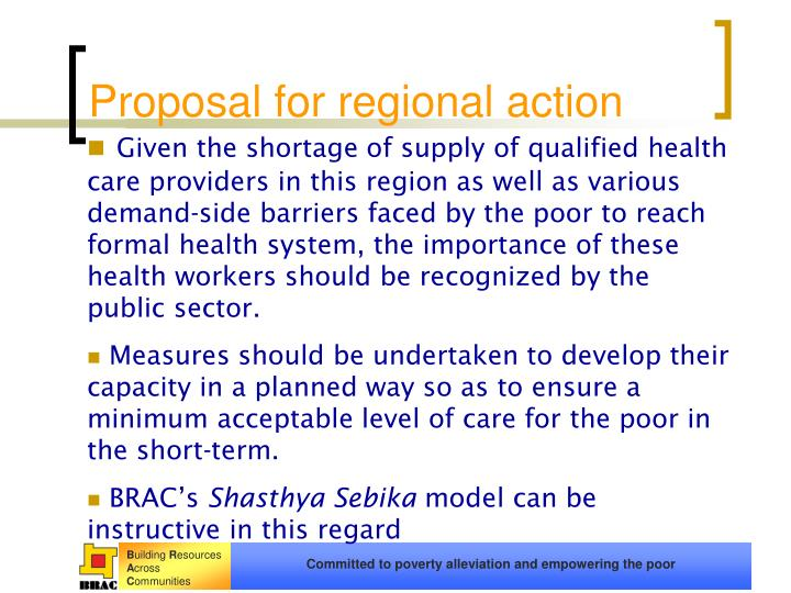 Proposal for regional action