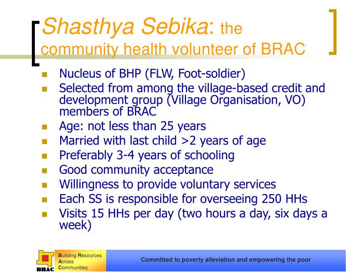 Shasthya sebika the community health volunteer of brac