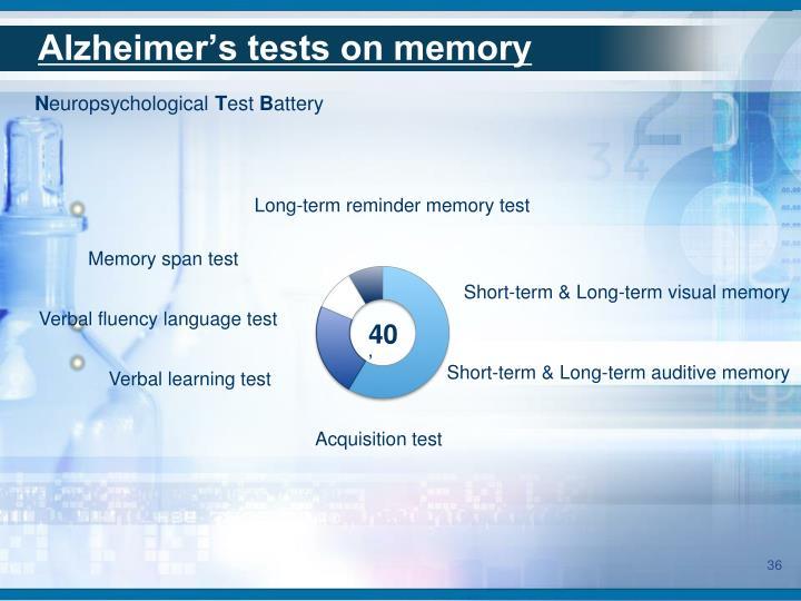 Alzheimer's tests on memory