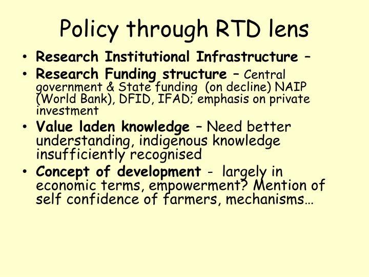 Policy through RTD lens