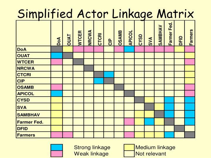 Simplified Actor Linkage Matrix