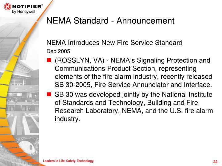 NEMA Standard - Announcement