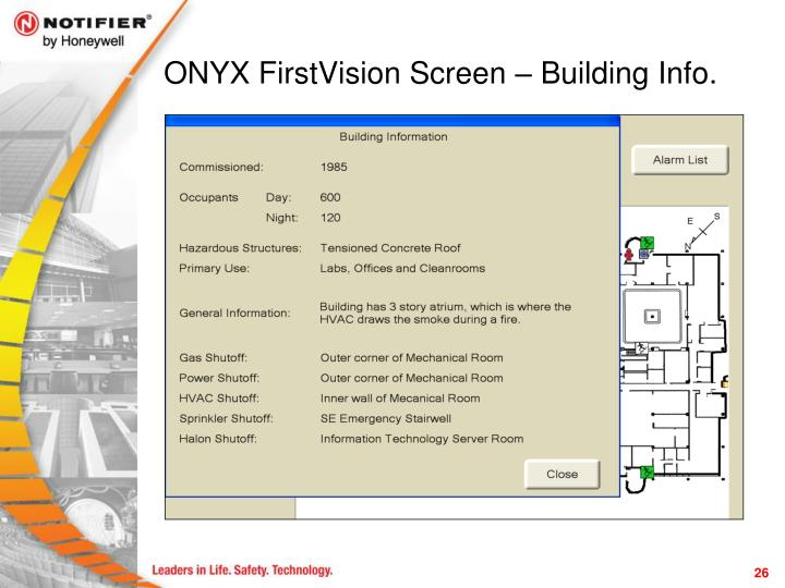 ONYX FirstVision Screen – Building Info.