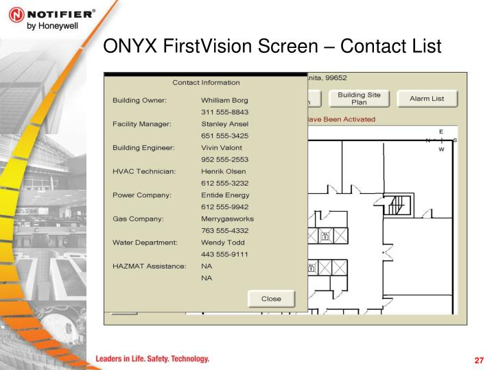 ONYX FirstVision Screen – Contact List