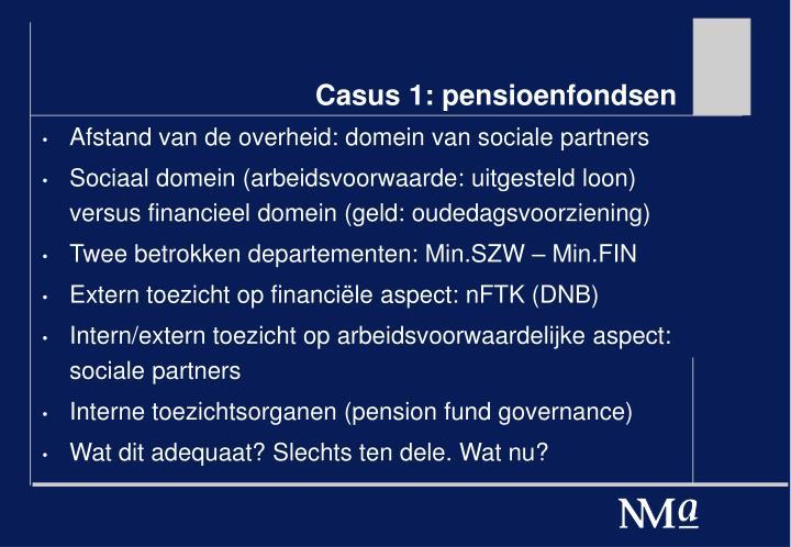 Casus 1: pensioenfondsen