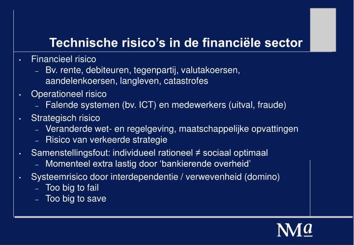 Technische risico's in de financiële sector