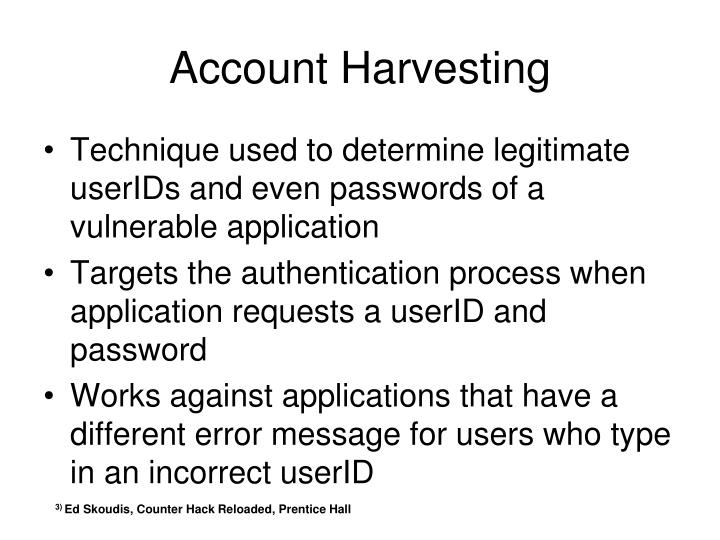 Account Harvesting