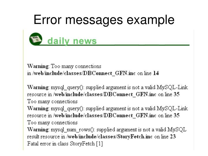 Error messages example