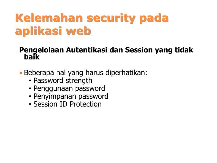 Kelemahan security pada aplikasi web