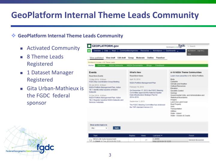 Geoplatform internal theme leads community