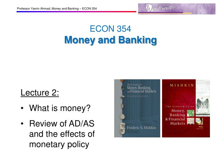 econ 354 money and banking n.