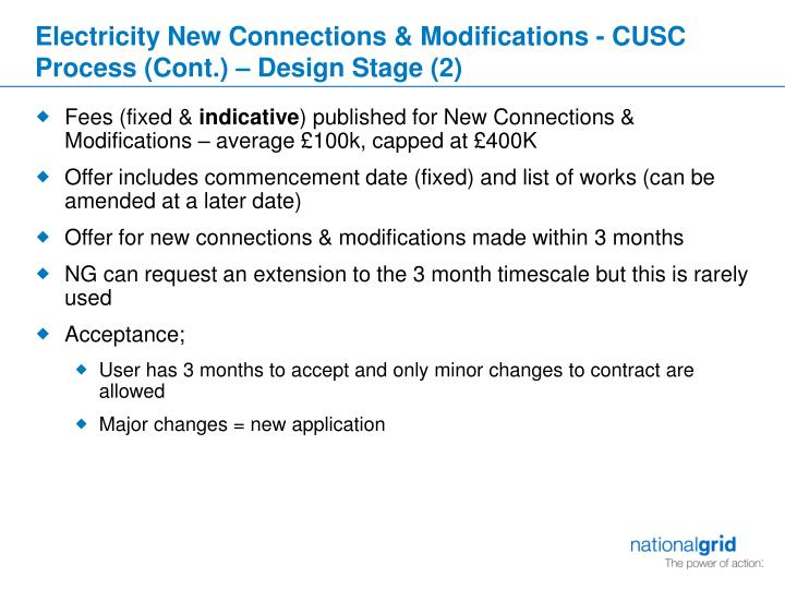 Electricity New Connections & Modifications - CUSC Process (Cont.) – Design Stage (2)
