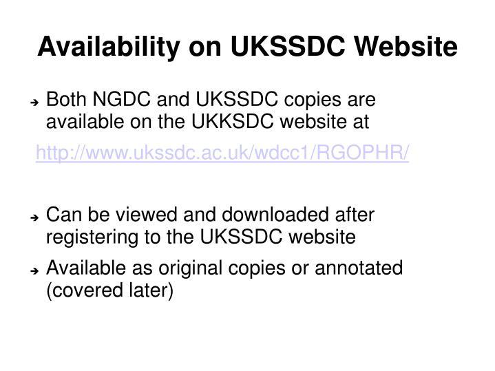 Availability on UKSSDC Website