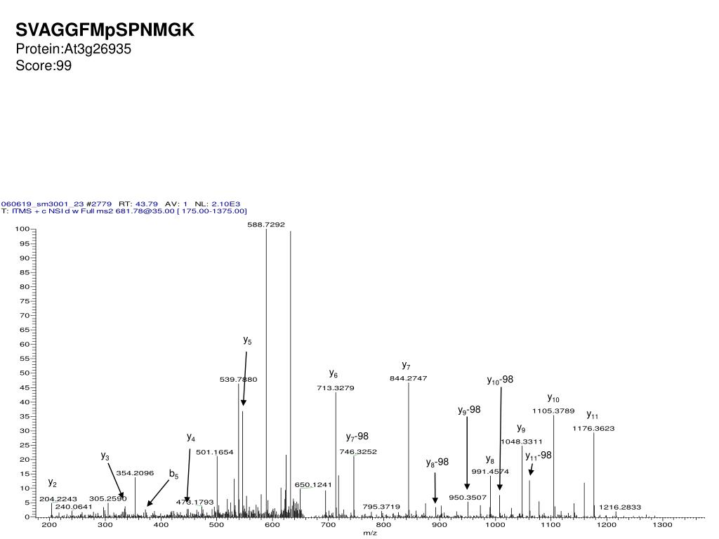 PPT - Annotated spectra for table II pS: phosphoserine pT
