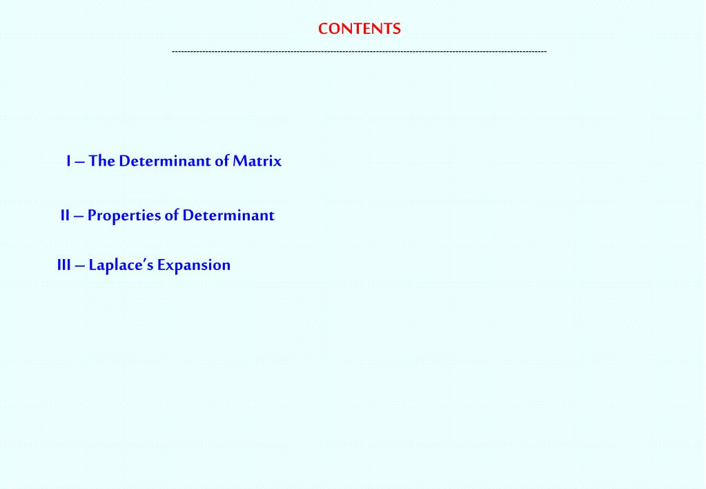 PPT - Linear Algebra Chapter 2 : DETERMINANT Instructor Dr