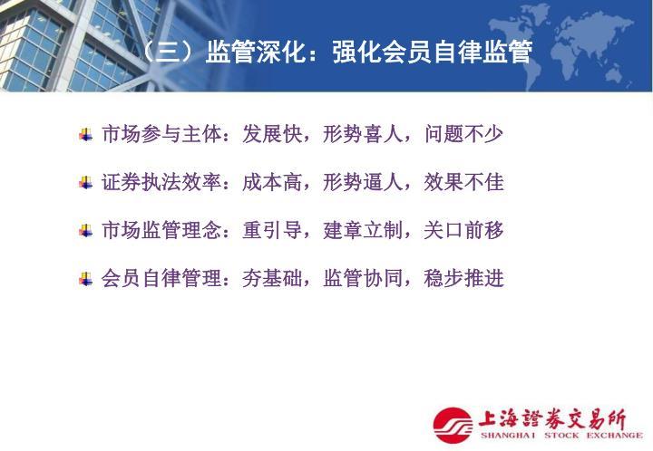 (三)监管深化:强化会员自律监管