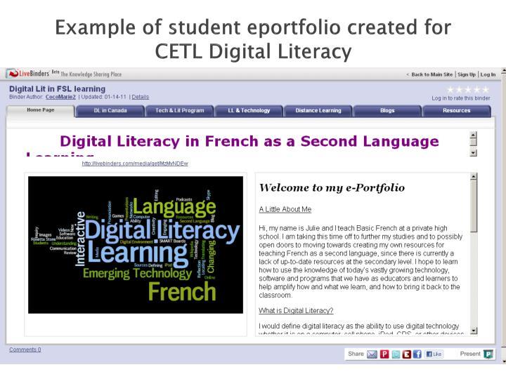 Example of student eportfolio created for CETL Digital Literacy