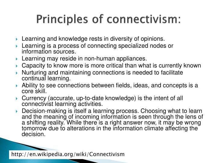 Principles of connectivism: