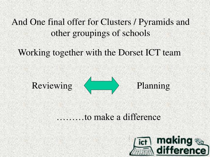 And One final offer for Clusters / Pyramids and other groupings of schools