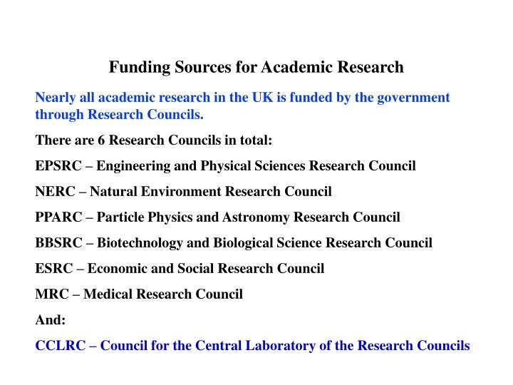 funding sources for academic research n.