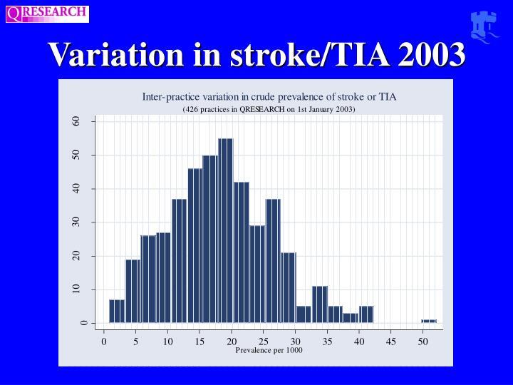 Variation in stroke/TIA 2003
